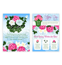 happy spring holiday floral poster template vector image