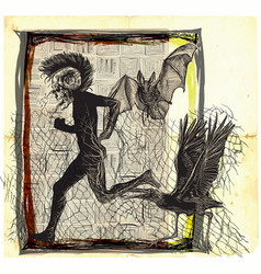 Run punk run - an hand drawn freehand sketching vector