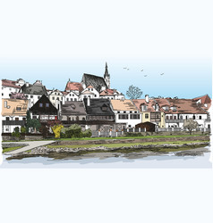 Colored panoramic view of cesky krumlov vector