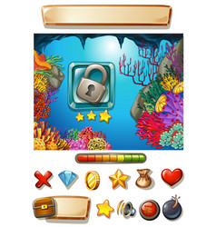 Game template with underwater background vector