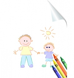 Father and son childs drawing vector