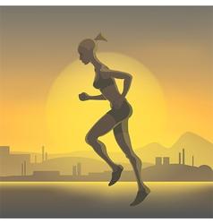 Silhouette of running girl vector