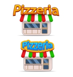 Cartoon pizzeria icon vector