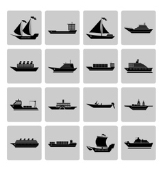 Ship and Boats Icons Set vector image
