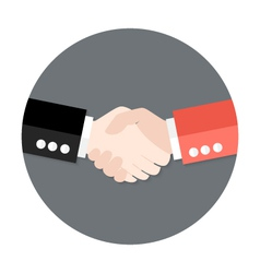 Two businessmen partnership flat circle icon vector