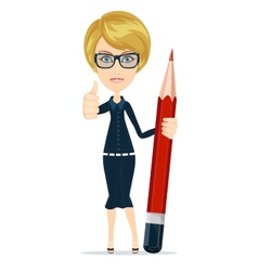 Smiling cartoon businesswoman or teacher giving vector