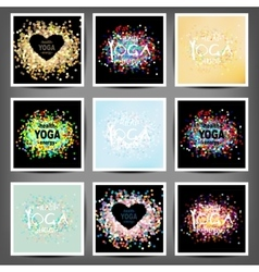 Poster for yoga class with a sea view vector