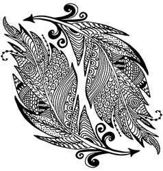 Ornamental hand drawn sketch of feathers in vector