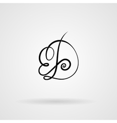 Orante lined letter inscribed in art nouveau style vector