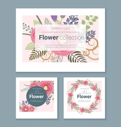 Set of invitation cards with colorful flowers 4 vector