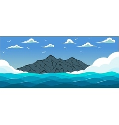 Blue sea with waves vector