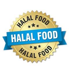 halal food 3d gold badge with blue ribbon vector image