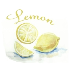 Watercolor lemon fruit label with the inscription vector