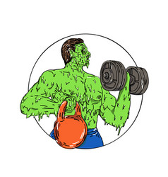 Athlete fitness dumbbell kettlebell grime art vector