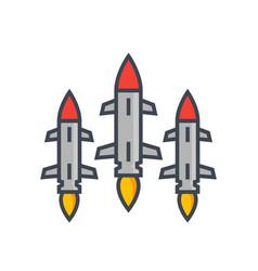 Ballistic missiles on white vector