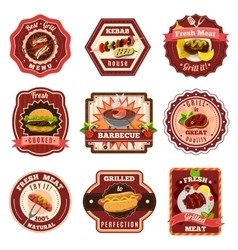 Barbecue Emblems Set vector image vector image