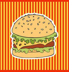 Burger on a striped background hand drawing vector