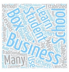 Business school in a box 1 text background vector