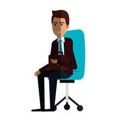 Businessman in office chair avatar character icon vector
