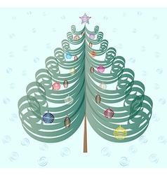 Christmas tree on cyan background vector image vector image