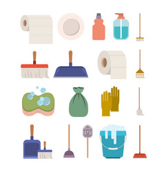 cleaning service elements colorful silhouette on vector image