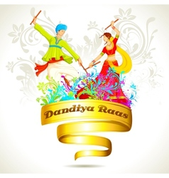 Couple playing dandiya on navratri vector