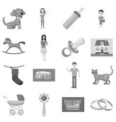 Family with children icons set vector