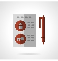 Flat color housing agreement icon vector image