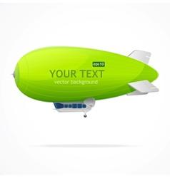 Green dirigible balloon and text vector image