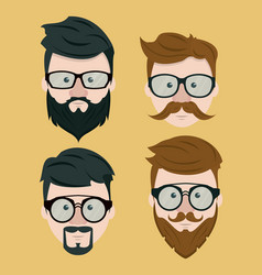 hipster face collection vector image vector image