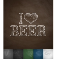 i love beer icon vector image