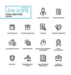 Legal services - line design icons set vector