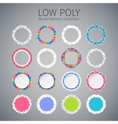 Low Poly Round Banners Set vector image vector image