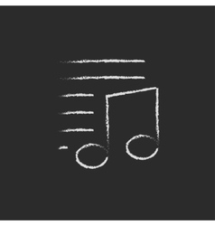 Musical note and lines icon drawn in chalk vector