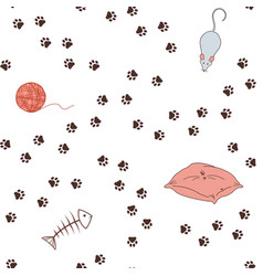 paw print paths seamless background vector image