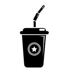 plastic glass juice icon simple black style vector image