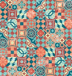 Seamless pattern patchwork vintage mosaic oriental vector image vector image