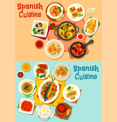 Spanish cuisine menu icon set for dinner design vector