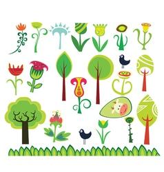 spring design floral elements vector image vector image