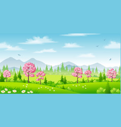 spring landscape with blossoming trees vector image vector image