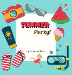 summer holiday vacation party poster flat vector image vector image