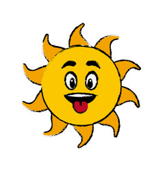 sun cartoon tongue out fun mascot character vector image