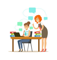 two employee women working on a project colorful vector image vector image