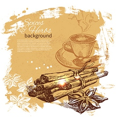 Vintage background with hand drawn sketch vector