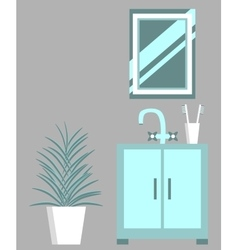 Washbasin Mirror And Flower vector image