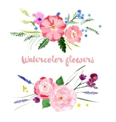 Watercolor floral borders vector