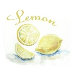 Watercolor lemon fruit label with the inscription vector