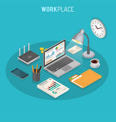 Workplace isometric concept vector