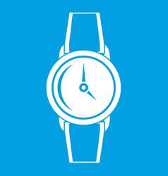 Wristwatch icon white vector