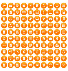 100 work paper icons set orange vector image vector image